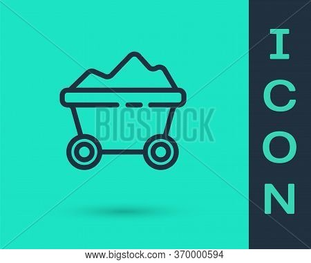 Black Line Coal Mine Trolley Icon Isolated On Green Background. Factory Coal Mine Trolley. Vector Il