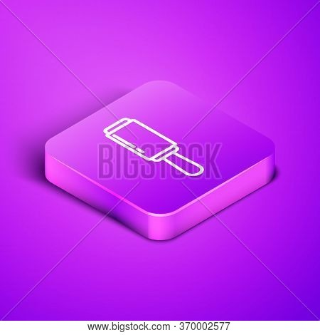 Isometric Line Adhesive Roller For Cleaning Clothes Icon Isolated On Purple Background. Getting Rid