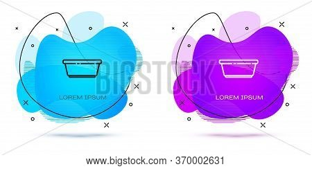 Line Plastic Basin Icon Isolated On White Background. Bowl With Water. Washing Clothes, Cleaning Equ