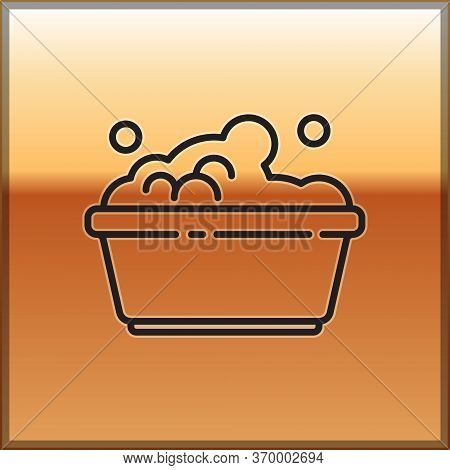 Black Line Plastic Basin With Soap Suds Icon Isolated On Gold Background. Bowl With Water. Washing C