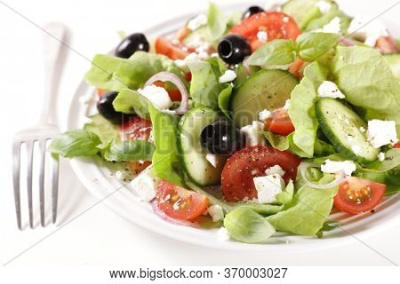 greek salad- vegetable salad with feta cheese, cucumber, tomato and olive