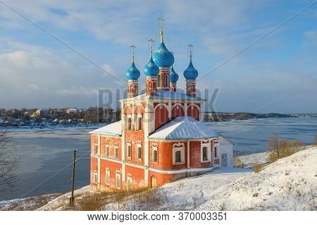 Ancient Church Of The Icon Of The Mother Of God Of Kazanskaya (red Church) On A Sunny January Day. T