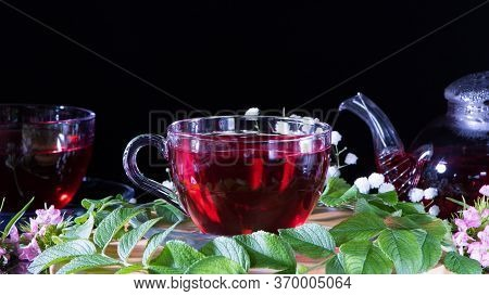 Red Hot Hibiscus Tea In Glass Mug. Tea Time: Cup Of Tea, Carcade, Karkade, Rooibos. Oriental, Cozy,