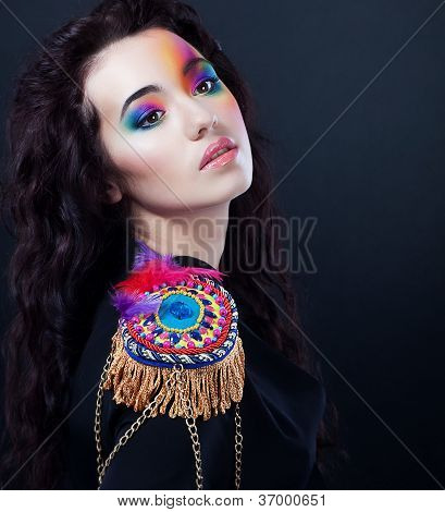 Carnival. Fancy Dress Party. Cute Girl Art Portrait