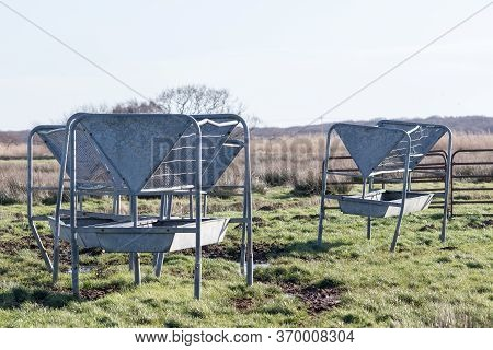 Metal Cattle Feeder And Troughs. Old Used Hayracks And Mangers In A Muddy Agricultural Field. Cow Fe