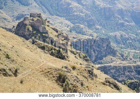 Tmogvi Fortress. Ruins Of The Medieval Stronghold Near Famous Vardzia In Samtskhe-javakheti Province