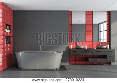 Interior Of Stylish Bathroom With Gray And Red Tile Walls, Concrete Floor, Comfortable Double Sink S