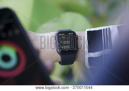 Bali Indonesia June 12, 2020 : female hands using with apple, Apple Watch is a line of smartwatches