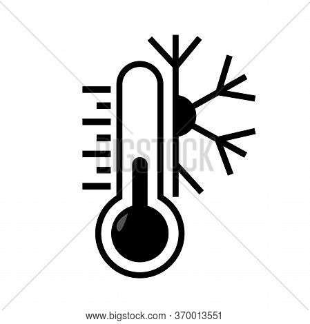 Thermometer Vector Icon With Snow Sign. Meteorology Thermometers Isolated On White Background. Cold