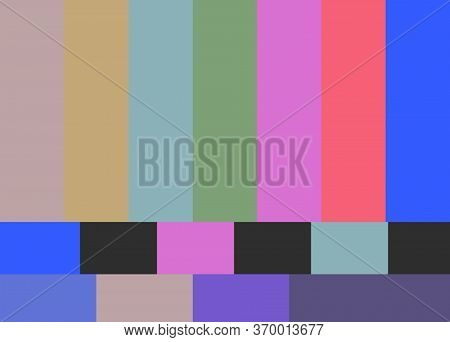No Tv Signal. Screen Displays Colored Stripes Background.