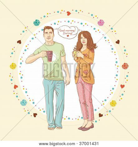 Portrait of a happy young couple drinking coffee together. Good morning banner poster
