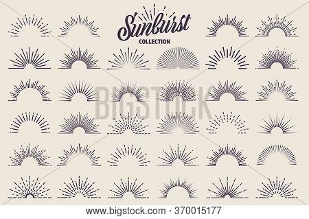 Vintage Sunburst Collection. Bursting Sun Rays. Fireworks. Logotype Or Lettering Design Element. Rad