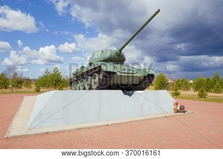 Kirovsk, Russia - April 26, 2020: View Of The Monument To The T-34-85 Tank On The Nevskiy Patch On A