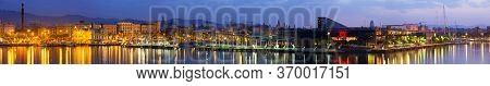 Panorama Of Port Vell At Barcelona In Sunrise
