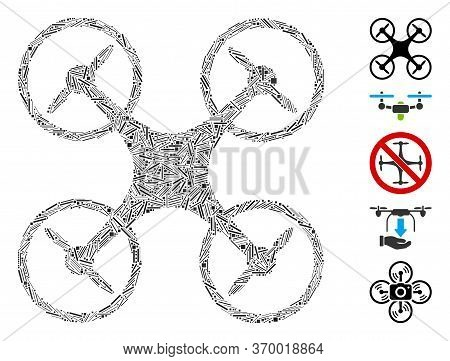 Hatch Mosaic Based On Air Copter Icon. Mosaic Vector Air Copter Is Formed With Randomized Hatch Spot