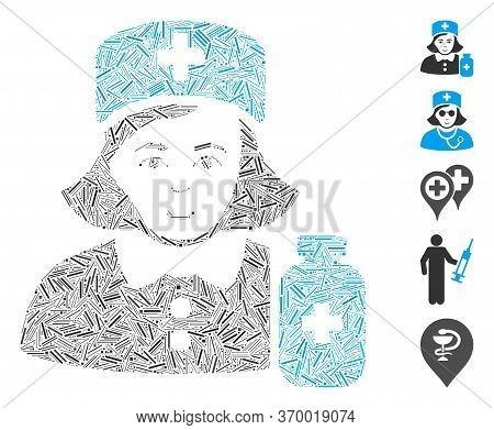Hatch Mosaic Based On Apothecary Lady Icon. Mosaic Vector Apothecary Lady Is Composed With Random Ha