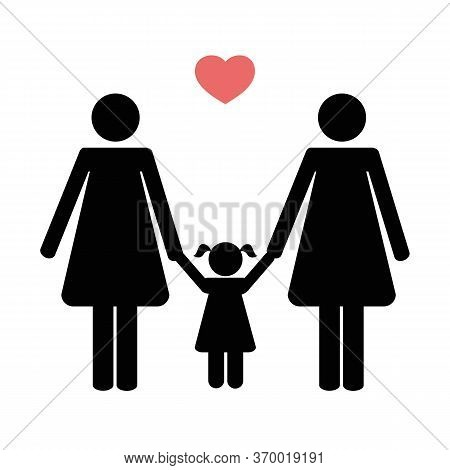 Homosexual Family With Two Mums And Child Pictogram Vector Illustration Eps10