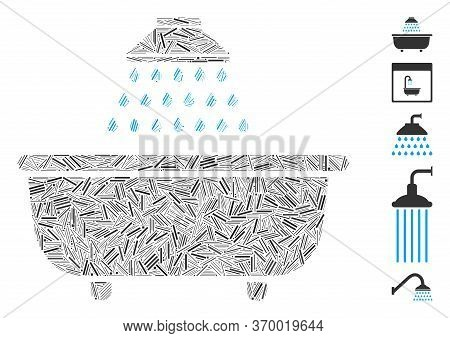 Line Mosaic Based On Bath Shower Icon. Mosaic Vector Bath Shower Is Designed With Scattered Line Dot