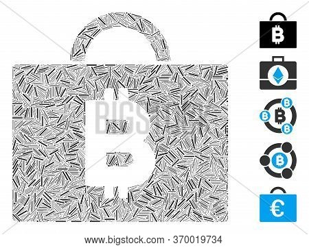 Line Mosaic Based On Bitcoin Accounting Case Icon. Mosaic Vector Bitcoin Accounting Case Is Composed