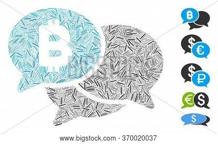 Dash Mosaic Based On Bitcoin Webinar Messages Icon. Mosaic Vector Bitcoin Webinar Messages Is Design