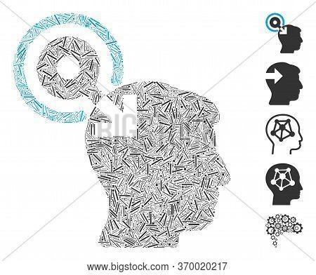 Line Mosaic Based On Brain Interface Plug-in Icon. Mosaic Vector Brain Interface Plug-in Is Created