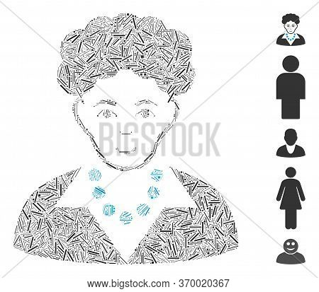 Line Mosaic Based On Brunette Woman Icon. Mosaic Vector Brunette Woman Is Designed With Random Line