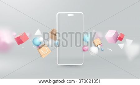 Shopping Online With Realistic Modern Smartphone. Virtual Realistic Geometry, Gifts, Shopping Items.
