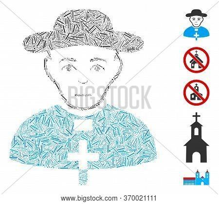 Hatch Mosaic Based On Catholic Shepherd Icon. Mosaic Vector Catholic Shepherd Is Formed With Randomi