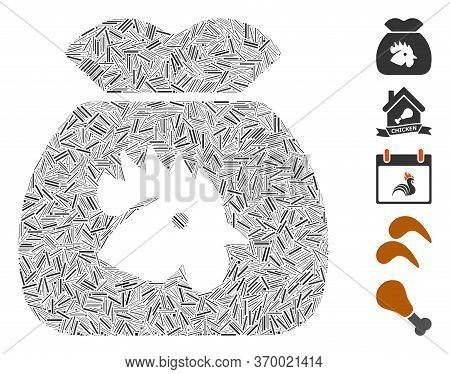 Line Mosaic Based On Chicken Food Sack Icon. Mosaic Vector Chicken Food Sack Is Composed With Random