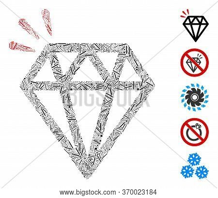 Hatch Mosaic Based On Diamond Crystal Icon. Mosaic Vector Diamond Crystal Is Designed With Scattered