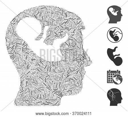 Dash Mosaic Based On Embryo Mind Head Icon. Mosaic Vector Embryo Mind Head Is Designed With Randomiz