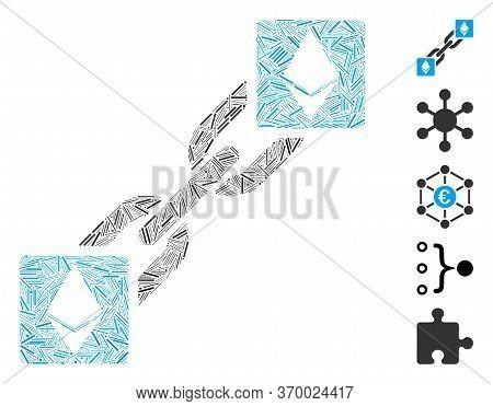 Line Mosaic Based On Ethereum Blockchain Icon. Mosaic Vector Ethereum Blockchain Is Created With Ran