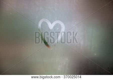 A Heart Painted On A Misted Window.heart On Misted Glass. Heart On A Window Background.heart Symbol