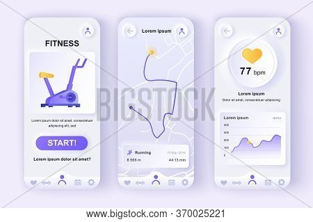 Fitness Workout Unique Neumorphic Design Kit For Mobile App. Fitness Tracker Screens With Running Ro