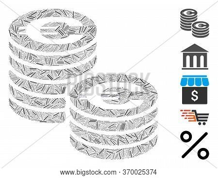 Hatch Mosaic Based On Euro Coin Columns Icon. Mosaic Vector Euro Coin Columns Is Formed With Random