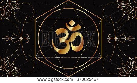 Om Or Aum Is A Symbol Of The Sacred Hindu Sound, The Mother Of All Mantras. Occult Sign Of Golden Co