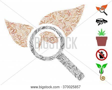Dash Mosaic Based On Explore Natural Drugs Icon. Mosaic Vector Explore Natural Drugs Is Formed With