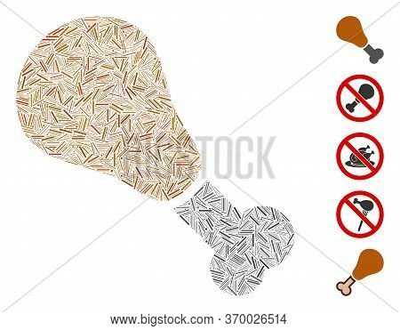Hatch Mosaic Based On Fried Chicken Leg Icon. Mosaic Vector Fried Chicken Leg Is Formed With Randomi