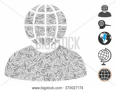 Line Mosaic Based On Global Politician Icon. Mosaic Vector Global Politician Is Composed With Random