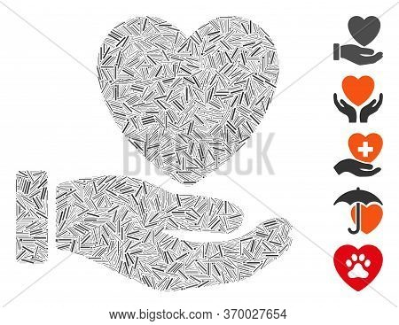 Line Mosaic Based On Heart Care Hand Icon. Mosaic Vector Heart Care Hand Is Created With Randomized