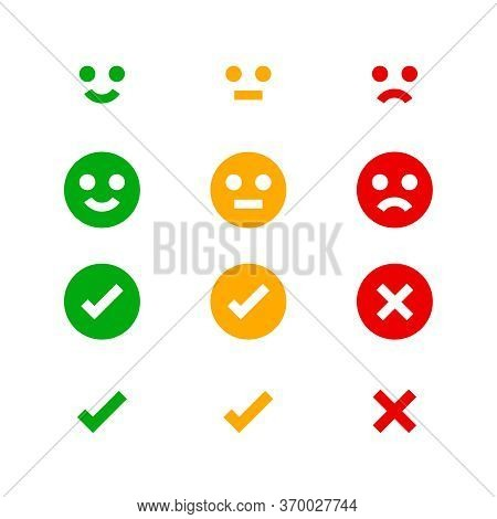 Icon Emotions Face, Emotional Symbol And Approval Check Sign Button, Emotions Faces And Check Mark X