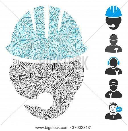 Dash Mosaic Based On Industrial Operator Icon. Mosaic Vector Industrial Operator Is Composed With Ra
