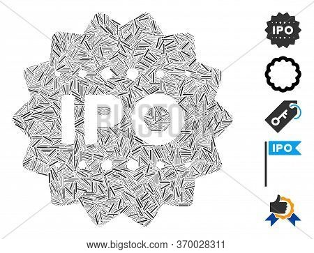Line Mosaic Based On Ipo Token Icon. Mosaic Vector Ipo Token Is Created With Randomized Line Element