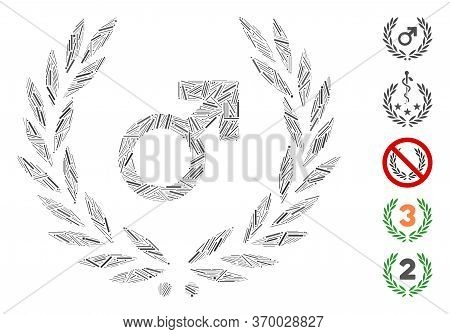 Hatch Mosaic Based On Male Symbol Laurel Wreath Icon. Mosaic Vector Male Symbol Laurel Wreath Is Cre