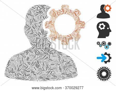 Dash Mosaic Based On Migraine Icon. Mosaic Vector Migraine Is Created With Random Dash Dots. Bonus I