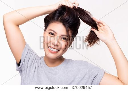 Portrait Pretty Young Asian Woman With Long Hair Healthy And Strong With Happiness, Smiley Face. You