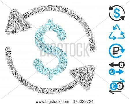 Line Mosaic Based On Money Turnover Icon. Mosaic Vector Money Turnover Is Designed With Scattered Li