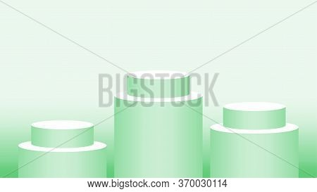 Green Pastel Pedestal Cylinder For Cosmetics Showcase, 3d Podium Circle Stage Green Soft Color, Podi
