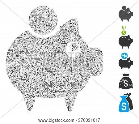 Dash Mosaic Based On Piggy Bank Icon. Mosaic Vector Piggy Bank Is Created With Scattered Dash Elemen