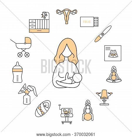 Pregnancy And Breastfeeding Circle Banner With Beige Flat Line Icon. All Stages Of Pregnancy And Chi